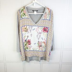 Desigual Floral and Gray 3/4 Sleeve Top